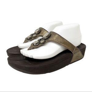Fitflop Lunetta Platform Wedge Sandal Pale Bronze